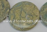 CNS238 15.5 inches 50mm flat round natural serpentine jasper beads