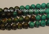 CNT102 15.5 inches 5.5mm - 6mm round natural turquoise beads wholesale