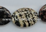 COB157 15.5 inches 22*30mm oval snowflake obsidian beads