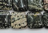 COB166 15.5 inches 20*20mm square snowflake obsidian beads
