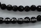 COB353 15.5 inches 8mm faceted round black obsidian beads