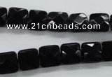 COB390 15.5 inches 10*10mm faceted square black obsidian beads