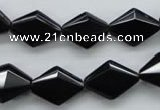 COB410 15.5 inches 10*15mm faceted oval black obsidian beads
