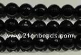 COB451 15.5 inches 6mm faceted round black obsidian beads