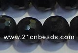 COB477 15.5 inches 14mm faceted round matte black obsidian beads