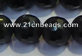 COB478 15.5 inches 16mm faceted round matte black obsidian beads