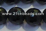COB479 15.5 inches 18mm faceted round matte black obsidian beads