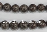 COB554 15.5 inches 12mm round red snowflake obsidian beads wholesale