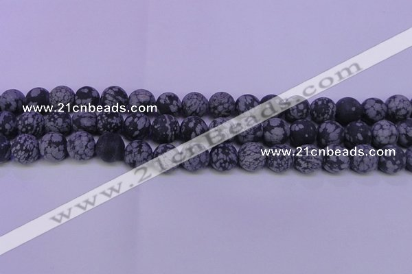 COB565 15.5 inches 14mm round matte snowflake obsidian beads