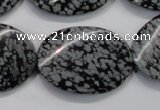 COB58 15.5 inches 25*35mm twisted oval Chinese snowflake obsidian beads