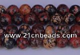COB660 15.5 inches 4mm round red snowflake obsidian beads