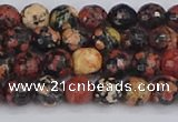 COB677 15.5 inches 6mm faceted round red snowflake obsidian beads