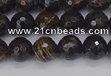 COB686 15.5 inches 8mm faceted round golden black obsidian beads
