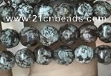 COB690 15.5 inches 4mm faceted round Chinese snowflake obsidian beads