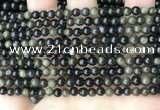 COB765 15.5 inches 4mm round golden obsidian beads wholesale