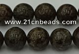 COB804 15.5 inches 12mm round red snowflake obsidian beads