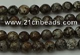 COB810 15.5 inches 4mm faceted round red snowflake obsidian beads