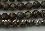 COB811 15.5 inches 6mm faceted round red snowflake obsidian beads