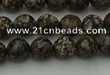 COB812 15.5 inches 8mm faceted round red snowflake obsidian beads