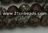 COB813 15.5 inches 10mm faceted round red snowflake obsidian beads