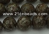 COB815 15.5 inches 14mm faceted round red snowflake obsidian beads