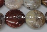COJ235 15.5 inches 25mm flat round blood stone beads wholesale