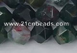 COJ323 15.5 inches 12mm faceted nuggets Indian bloodstone beads