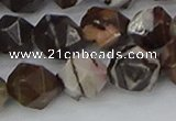 COJ374 15.5 inches 12mm faceted nuggets outback jasper beads