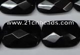 CON91 15.5 inches 18*25mm faceted rectangle black onyx gemstone beads