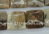 COP1129 15.5 inches 20*20mm square African opal gemstone beads