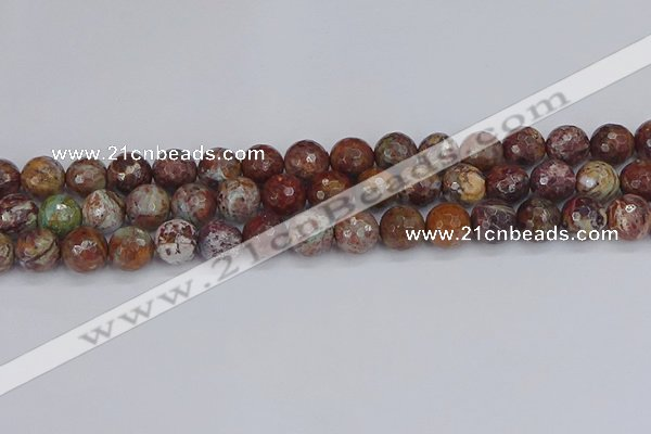 COP1396 15.5 inches 10mm faceted round African green opal beads
