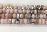 COP1550 15.5 inches 6*10mm - 8*11mm faceted tyre natural pink opal beads