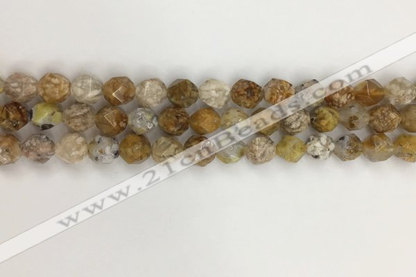 COP1676 15.5 inches 8mm faceted nuggets yellow opal gemstone beads