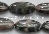 COP256 15.5 inches 15*30mm oval natural grey opal gemstone beads