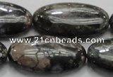 COP258 15.5 inches 20*40mm oval natural grey opal gemstone beads