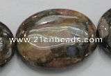 COP259 15.5 inches 30*40mm oval natural grey opal gemstone beads