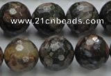 COP272 15.5 inches 20mm faceted round natural grey opal gemstone beads