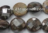 COP277 15.5 inches 20mm faceted round natural grey opal gemstone beads