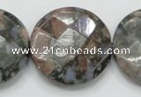 COP280 15.5 inches 35mm faceted round natural grey opal gemstone beads