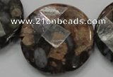 COP281 15.5 inches 40mm faceted round natural grey opal gemstone beads