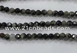 COP460 15.5 inches 4mm faceted round natural grey opal gemstone beads