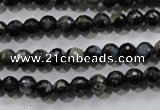 COP461 15.5 inches 6mm faceted round natural grey opal gemstone beads