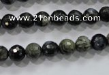 COP462 15.5 inches 8mm faceted round natural grey opal gemstone beads