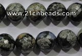 COP465 15.5 inches 14mm faceted round natural grey opal gemstone beads