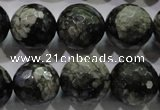 COP466 15.5 inches 16mm faceted round natural grey opal gemstone beads