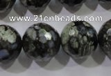 COP467 15.5 inches 18mm faceted round natural grey opal gemstone beads