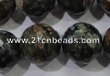 COP468 15.5 inches 20mm faceted round natural grey opal gemstone beads