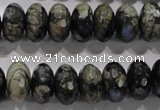 COP476 15.5 inches 8*14mm faceted rondelle natural grey opal beads
