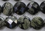 COP482 15.5 inches 15mm faceted coin natural grey opal beads