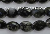 COP486 15.5 inches 10*14mm faceted oval natural grey opal beads